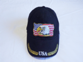 EAGLE HOME OF THE BRAVE ( AMERICAN EAGLE ON USA FLAG ) EMBROIDERED BASEBALL CAP